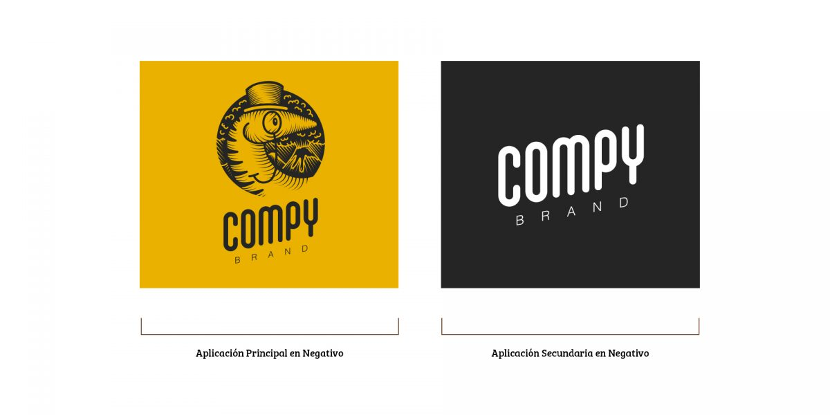 Compy Brand - Versiones del logo en Negativo